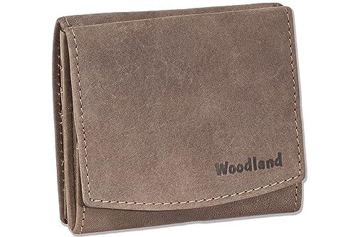Woodland - Monedero (cuadro Wiener) de cuero natural, suave ...