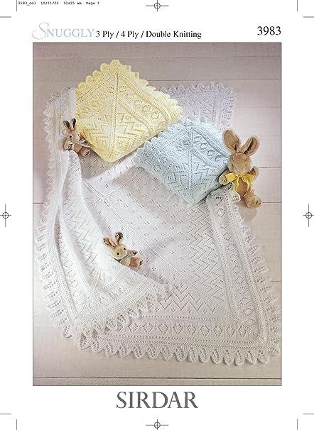 Sirdar Snuggly 3ply 4ply Dk Baby Shawl Blanket Knitting Pattern