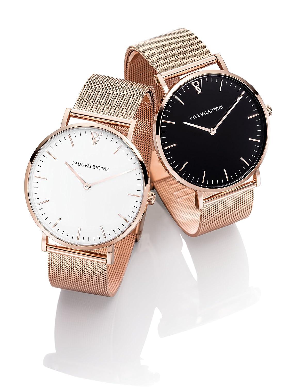 Reloj de pulsera para mujer de Paul Valentine, malla marina en oro rosa, reloj de pulsera con diseño elegante y atemporal. Acabado de alta calidad y ...