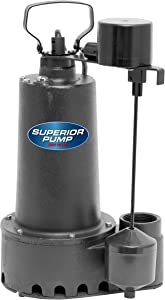 Superior Pump 92352 1/3 HP Cast Iron Submersible Sump Pump with Vertical Float Switch