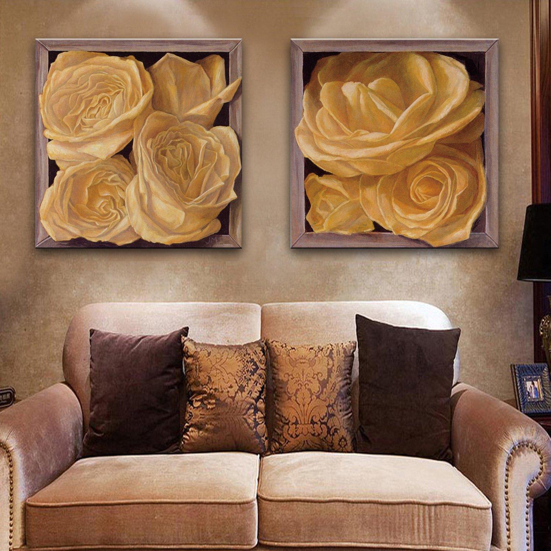 TT&ZHUANGSHI Box Blumen dekoriert Malerei, rahmenlose Zwei hängende Gemälde, Wohnzimmer Restaurant rahmenlose Malerei, 40  40  2
