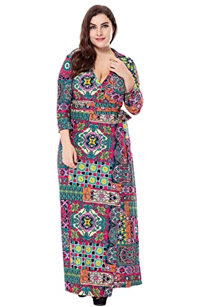 Wellwits Women S Plus Size Boho Tribal 3 4 Sleeve Surplice Collar