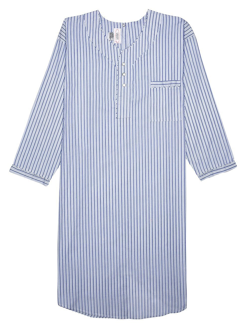 Men's Comfortable Cotton/Poly Back Snap Nightshirt Gown Long Sleeve Size L - Blue & Navy Striped