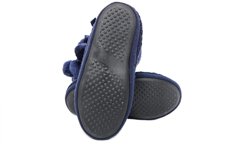 Airee Le Fairee Pantofole Donna Le Airee Signore Ragazze Maglia Effetto Tessuto Pantofola con Pom Poms Blu e1ba90