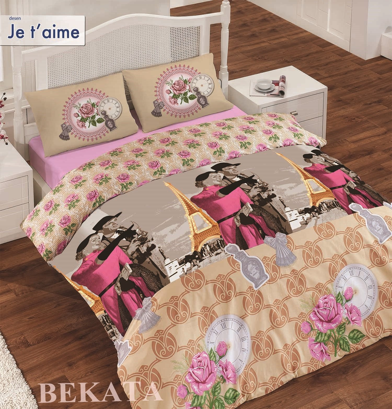 Vintage Paris Bedding Set, Eiffel Tower Themed Full/Queen Size Quilt/Duvet Cover Set, 100 Percent Cotton, 4 PCS, Casablanca Movie