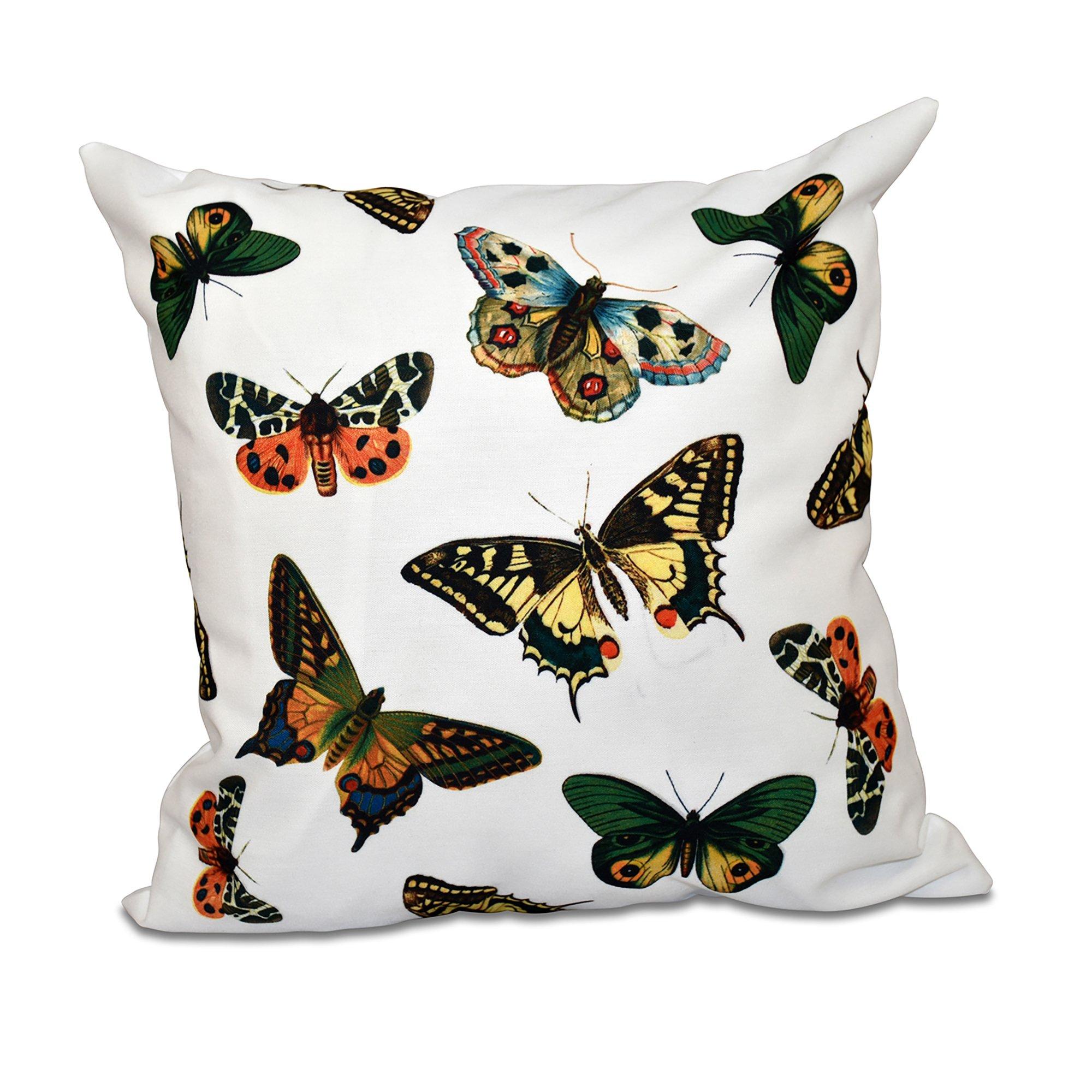 E by design 26 x 26-inch, Butterflies, Animal Print Pillow, White