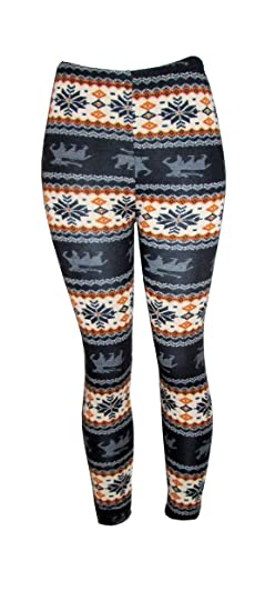 d62eda7dd7882e Image Unavailable. Image not available for. Color: FunLeggings Women's  Snowflake Reindeer Knitted Fleece Lined Leggings