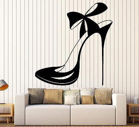 Vinilo Calcomanía Decorativo Para Pared Beautiful Zapato Con Lazo Tienda De La Moda Pegatinas De Tamaño Grande Decoración 1220ig Home Kitchen