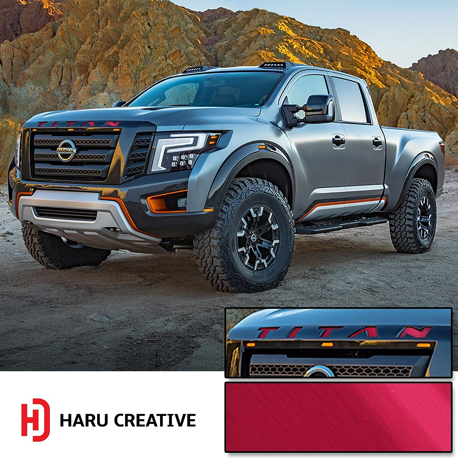 Metallic Brushed Aluminum Gunmetal Loyo Front Hood Grille Emblem Letter Insert Overlay Vinyl Decal Sticker Compatible with and Fits Nissan Titan XD 2016 2017 2018 Haru Creative