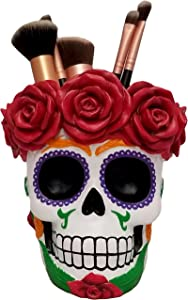 World of Wonders - Fiesta De Muertos Series - Death's Embrace - Halloween Decorations Sugar Skull Multi-purpose Pen Pencil Holder Makeup Brush Caddy Day of the Dead Mexican Folk Art Décor, 5.25-inch