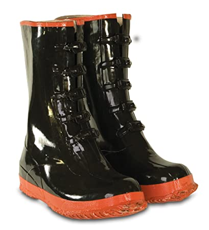 2968638048196 CLC Custom Leathercraft Rain Wear R22015 5 Buckle Black and Red Rubber  Boot, Size 15