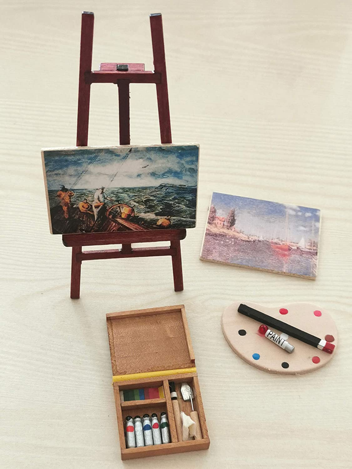 SXFSE Dollhouse Decoration Accessories, 1/12 Dollhouse Miniature Wooden Easel Oil Painting Set Palette Watercolor Box Simulation Toys for Doll