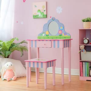Fantasy Fields - Magic Garden Play Vanity Table and Stool Set with Real Mirror | Kids Wooden Furniture