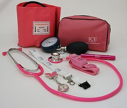 Color rosa y aumento de diseño de manchas de sangre de la presión acústica en Federación del trabajo electrónico de, el estetoscopio, de la luz de ...
