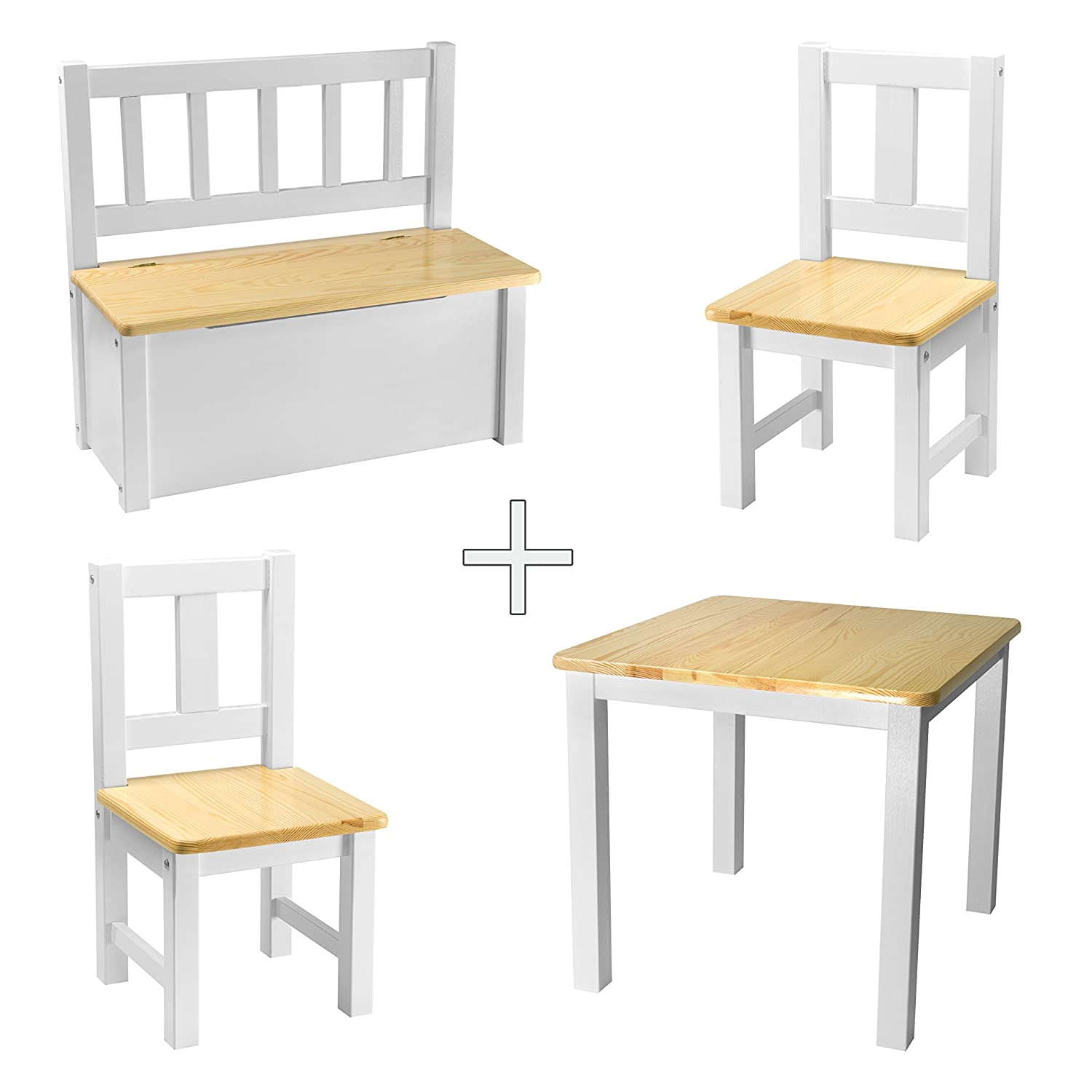 [Rabando] Children's Seating Set 1 Table and 2 kids chairs + 1 x Children's Wooden Bench White Transparent Varnish