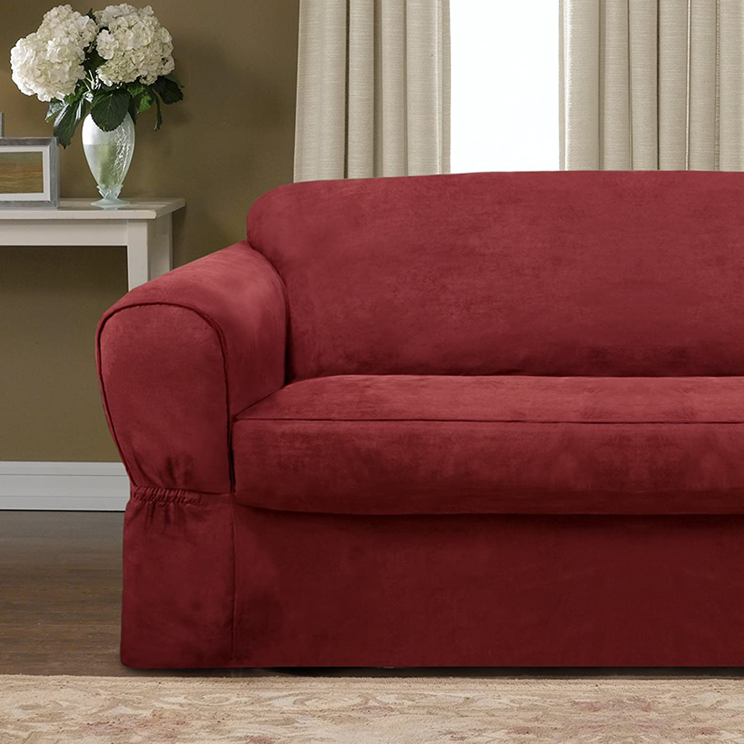 Amazon Maytex Piped Suede 2 Piece Sofa Slipcover Red Home