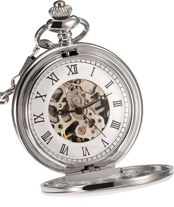 Reloj de Bolsillo Mecánico de Superficie Lisa Clásico con Cadena Cumpleaños Boda Día de Padre (Plateado): Amazon.es: Relojes