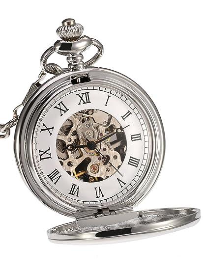 Reloj de Bolsillo Mecánico de Superficie Lisa Clásico con Cadena Cumpleaños Boda Día de Padre