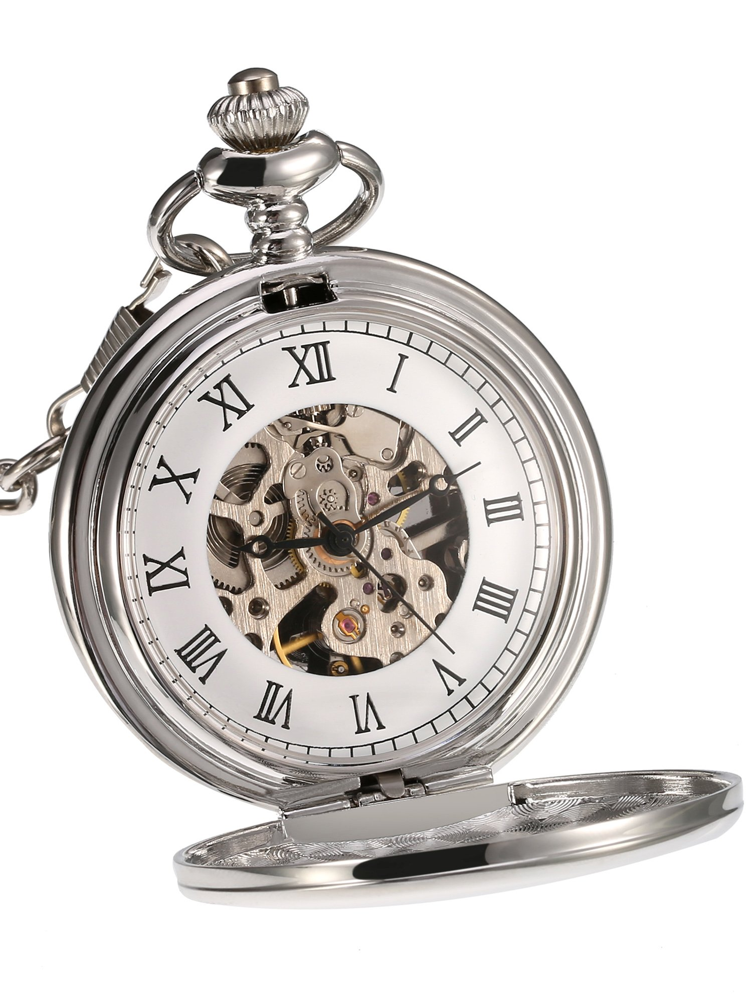 Mudder Classic Smooth Surface Mechanical Pocket Watch with Chain Xmas Birthday Wedding Father Day Gift (Silver)