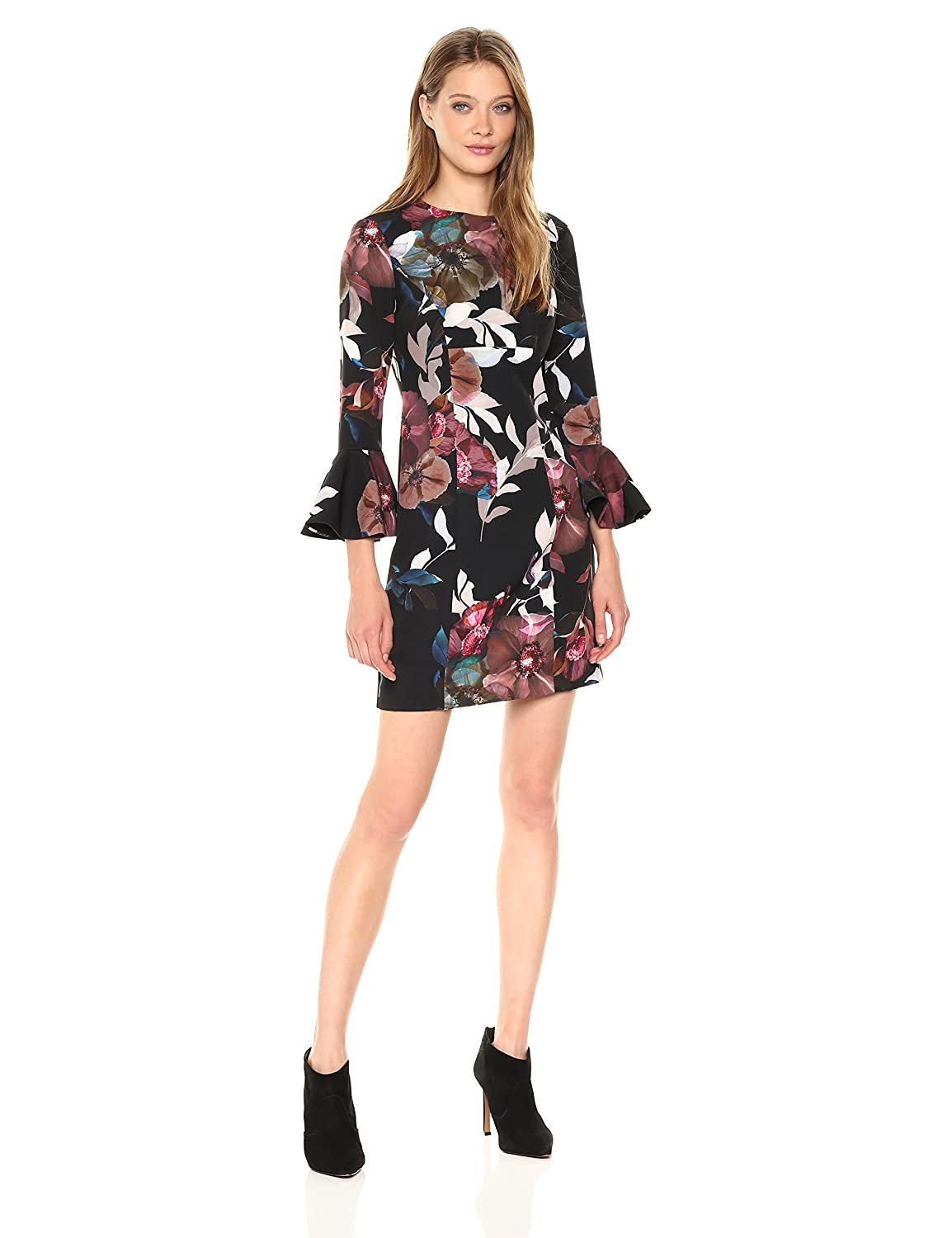 Multi Trina Turk Womens Panache 2 Faye Floral Bell Sleeve Dress Dress