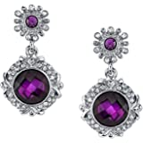 Silver-Tone Amethyst Purple Color Drop Earrings N28