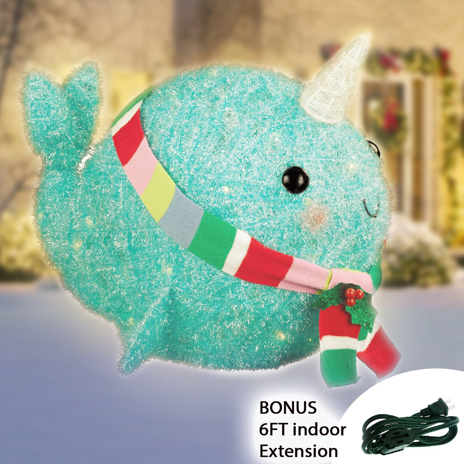 Christmas Narwhal Tinsel with Scarf - Lighted with 50 Bulbs - 17.25'' tall Outdoor Yard Decoration Statue + Greenbrier 6 FT Indoor Extension Cord Bundle