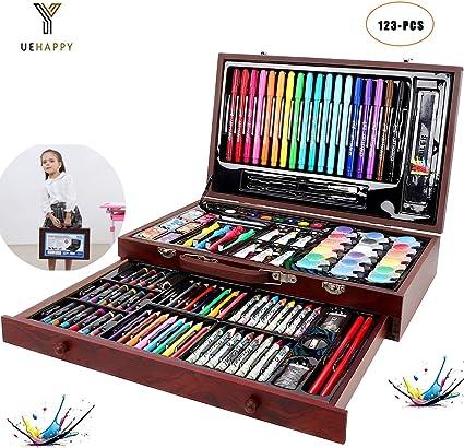 YUEHAPPY® Set de Pintura Niños,123 Piezas Caja de Madera con Set ...