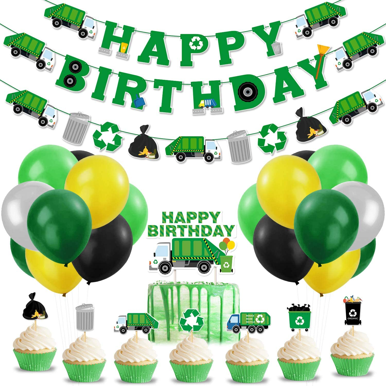 Garbage Truck Birthday Party Supplies Trash Truck Banner Garland Cake Topper Cupcake Toppers Latex Balloons for Boy's Birthday Waste Management Recycling Party Decor