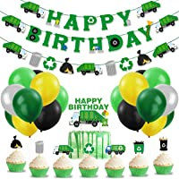Garbage Truck Birthday Party Supplies Trash Truck Banner Garland Cake Topper Cupcake Toppers Latex Balloons for Boy's…