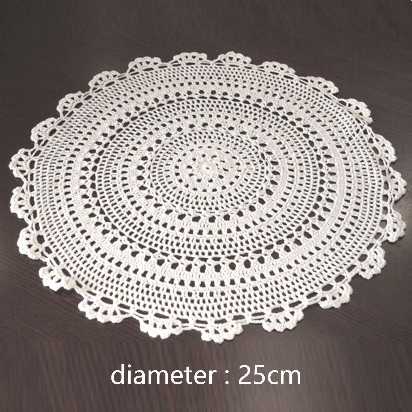 uooom 2 pcs hecho a mano Crochet Doilies hueca mantel redondo de encaje de  algodón manteles individuales de mesa con diseño de flores, blanco