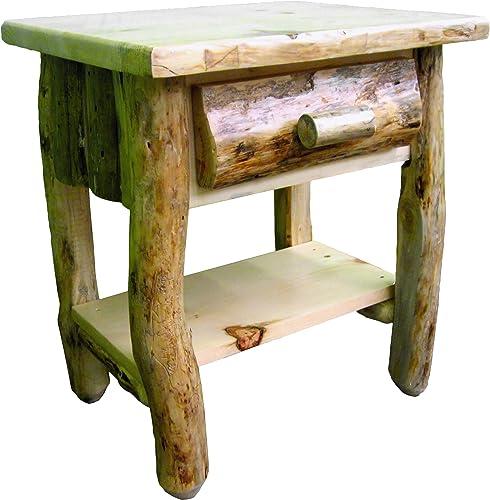 Midwest Log Furniture – Rustic Log Nightstand w Shelf