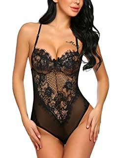 314f1c4607e ADOME Women One Piece Lingerie Lace Fishnet Teddy Bodysuit Mesh Babydoll