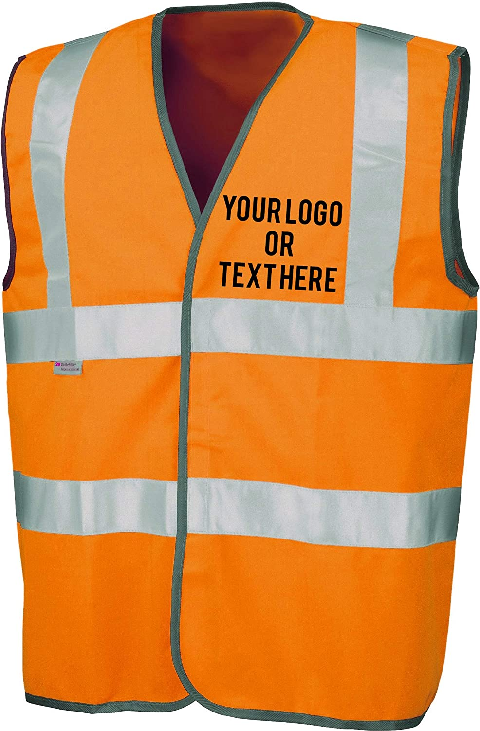 Colour=Orange The World Of Wall Art Personalised Printed High Visibility High-Viz Safety Waistcoat Vest Size=2X Large Hi-Vis