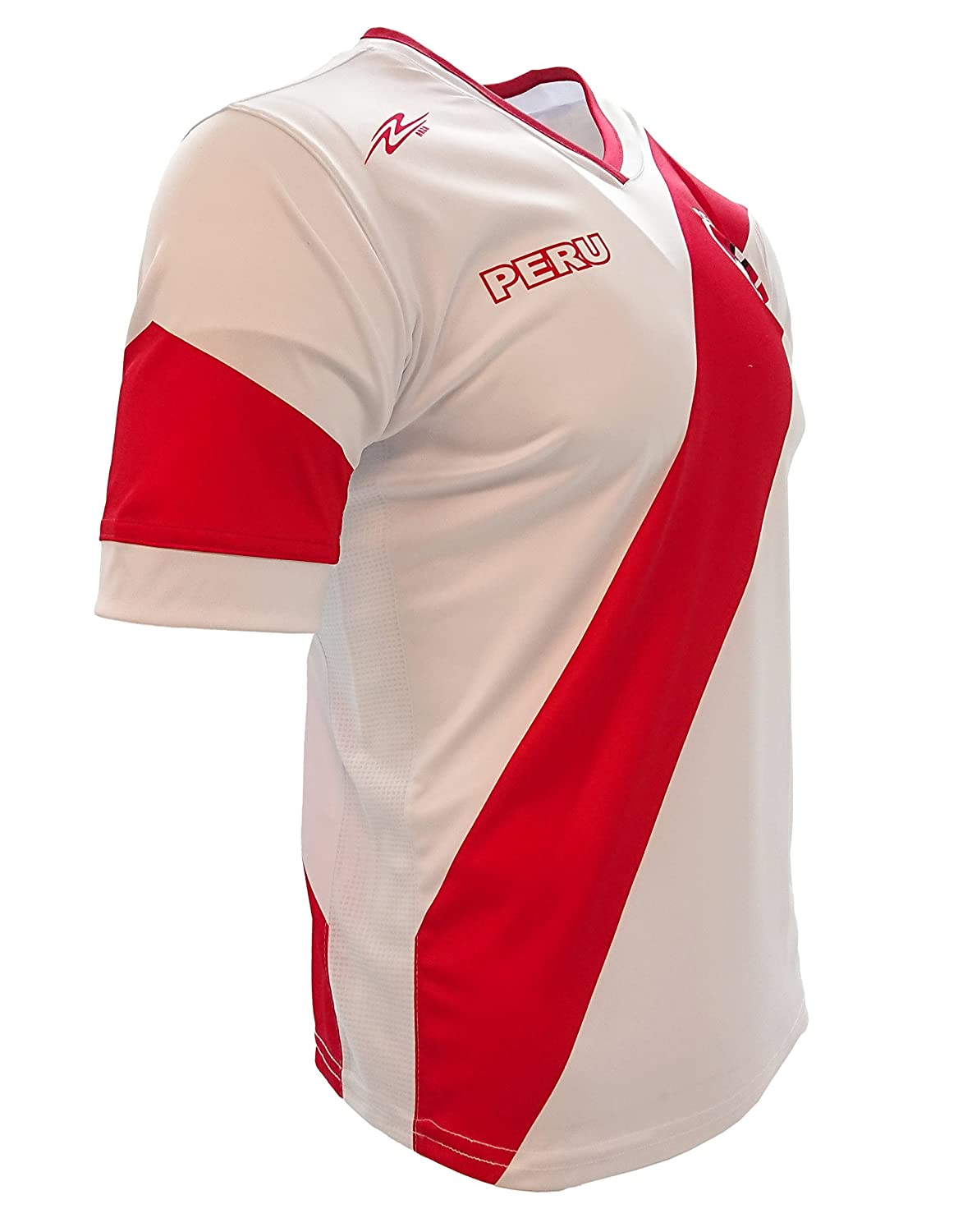 Arza Soccer Peru Jersey White//Red Slim Fit 100/% Polyester