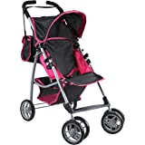 Mommy & Me Baby Doll Stroller Foldable with Swiveling Wheels and Free Carriage Bag for Toddlers, and Little Girls, Hot Pink a