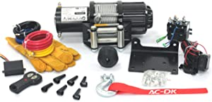 AC-DK 4500 lb ATV/UTV Winch Electric Winch Kit with Steel Cable, 12V Electric Winch with Both Wireless Handheld Remote and Corded Control Recovery (Off Road Waterproof Winch)