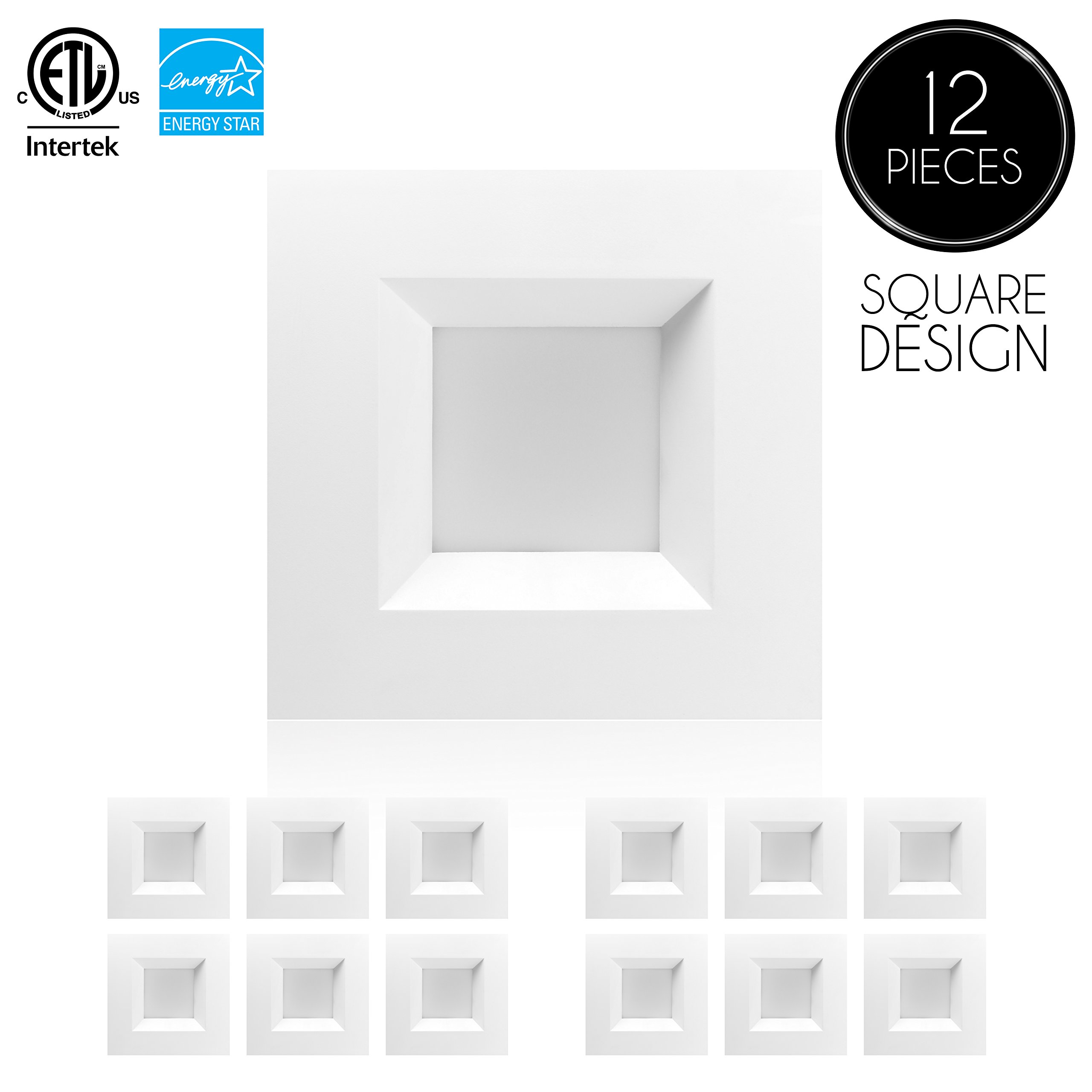 Parmida (12 Pack) 6 inch Dimmable LED Square Retrofit Recessed Downlight, 12W (100W Replacement), 950lm, 3000K (Soft White), ENERGY STAR & ETL, LED Ceiling Can Light, LED Trim