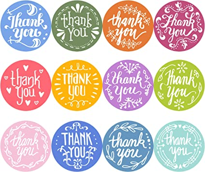 Amazon Com Youngever Thank You Stickers Rolls Of 1240 Pcs 12 Unique Designs 1 5 Inch Thank You Sticker Roll Boutique Supplies For Business Packaging Mailer Seal Stickers 620 Stickers Per Roll Office Products