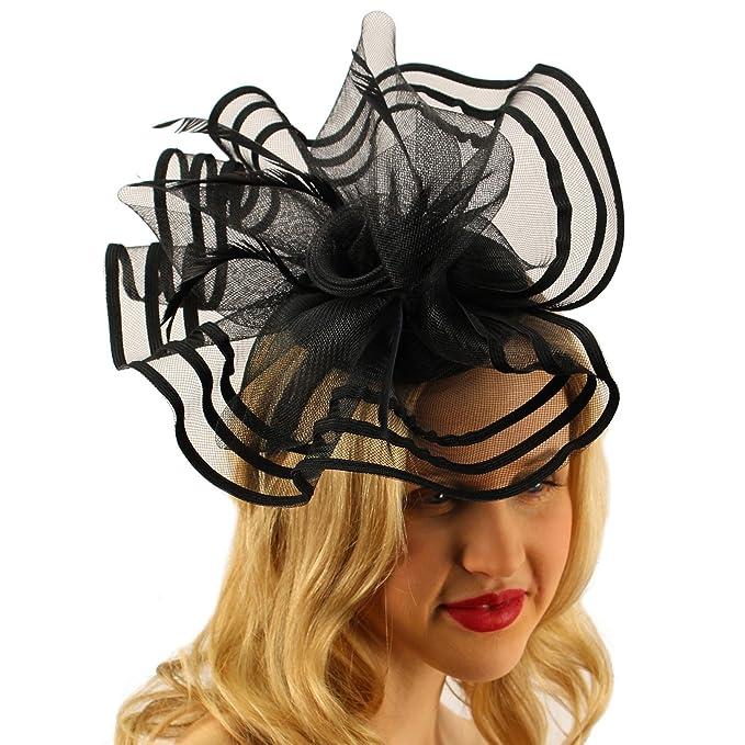 Floral Swirl Net Feathers Fascinators Headband Millinery Cocktail Derby  Black 7f2ab13898d