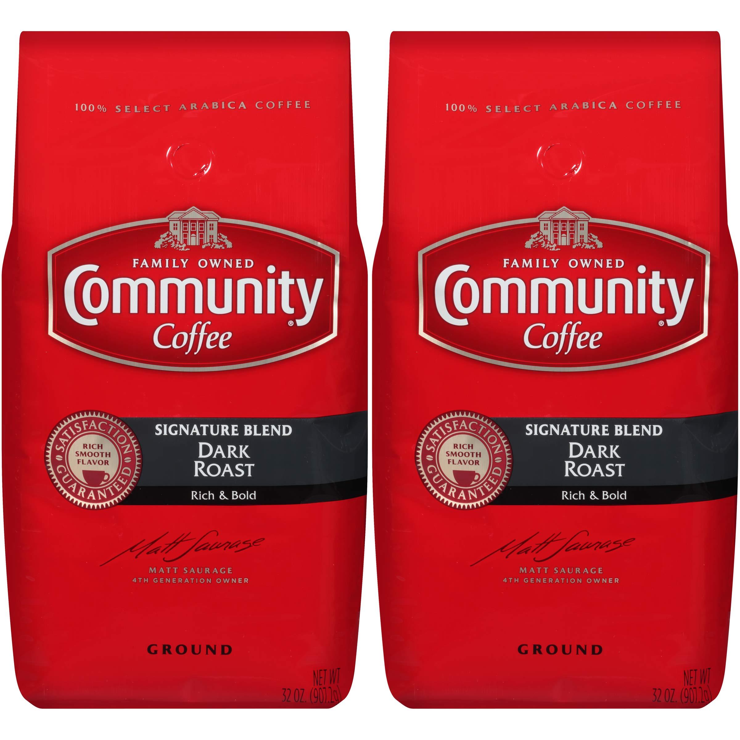 Community Coffee Signature Blend Dark Roast Premium Ground 32 Oz Bag (2 Pack), Full Body Rich Bold Taste, 100% Select Arabica Coffee Beans by Community Coffee