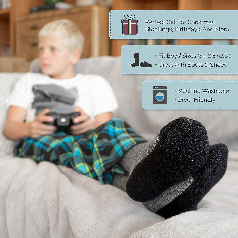 Thermal Socks for Boys Cozy Crew Socks 2 PACK