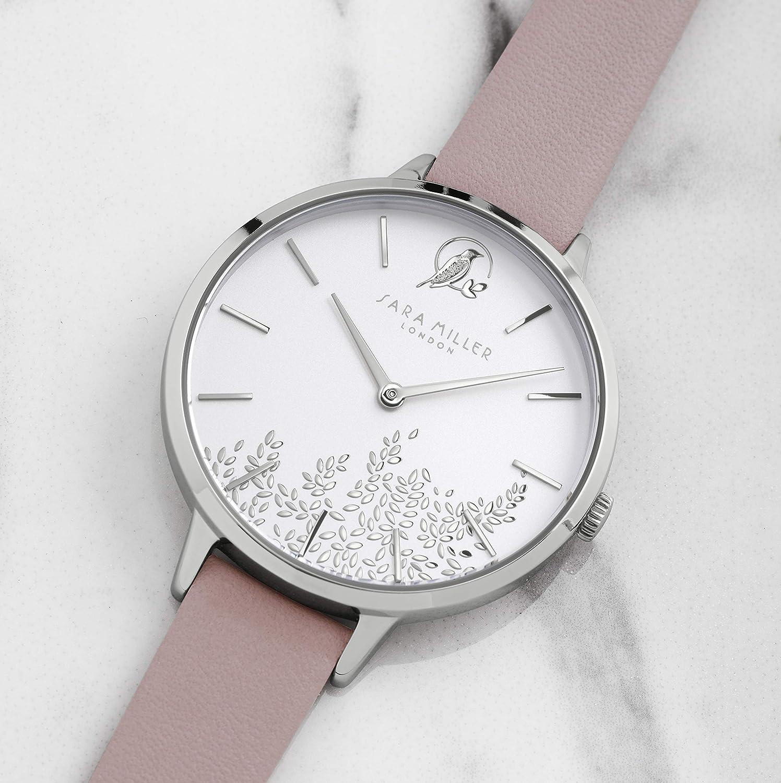 Sara Miller Leaf Collection SA2027 - Reloj de Pulsera (Correa de Piel, bañado en Plata), Color Rosa: Amazon.es: Relojes