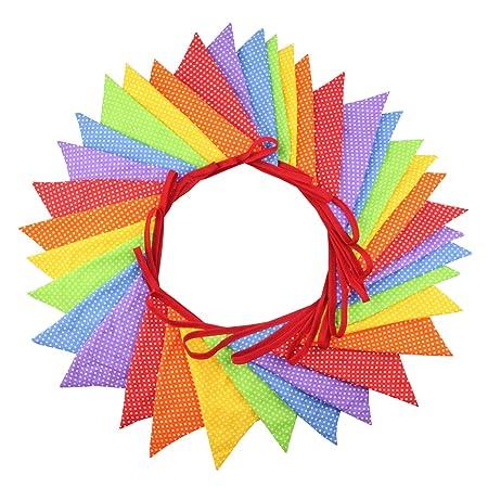 Banderines de tela multicolor de 10 metros para fiestas ...