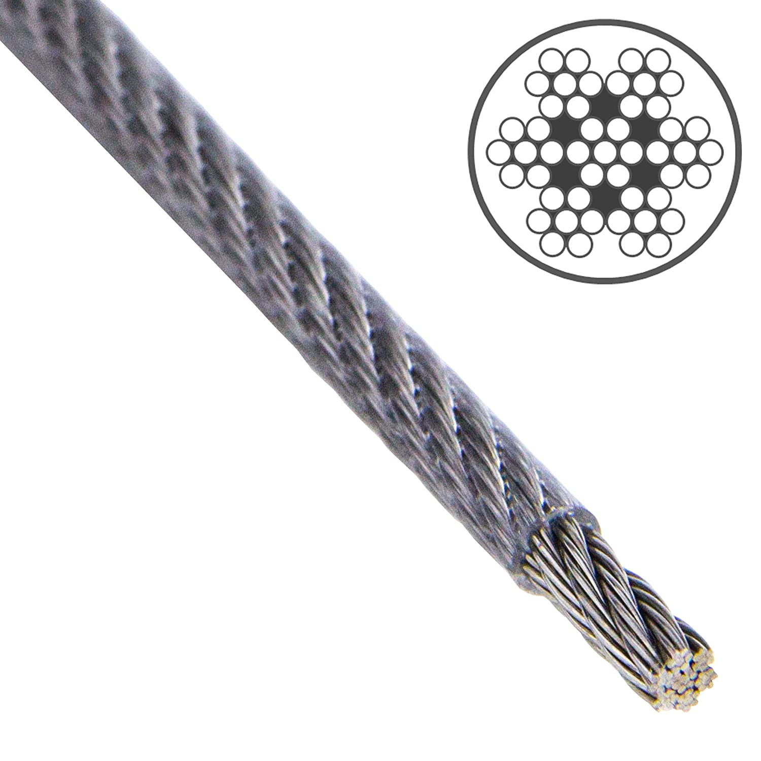 Opiol Quality |drahtseil 7  x 7  Wire Rope PVC Coated, Clear  –   A4  Stainless Steel 10  Metre | Stainless Steel | Steel | Handrail Rope Wire Rope
