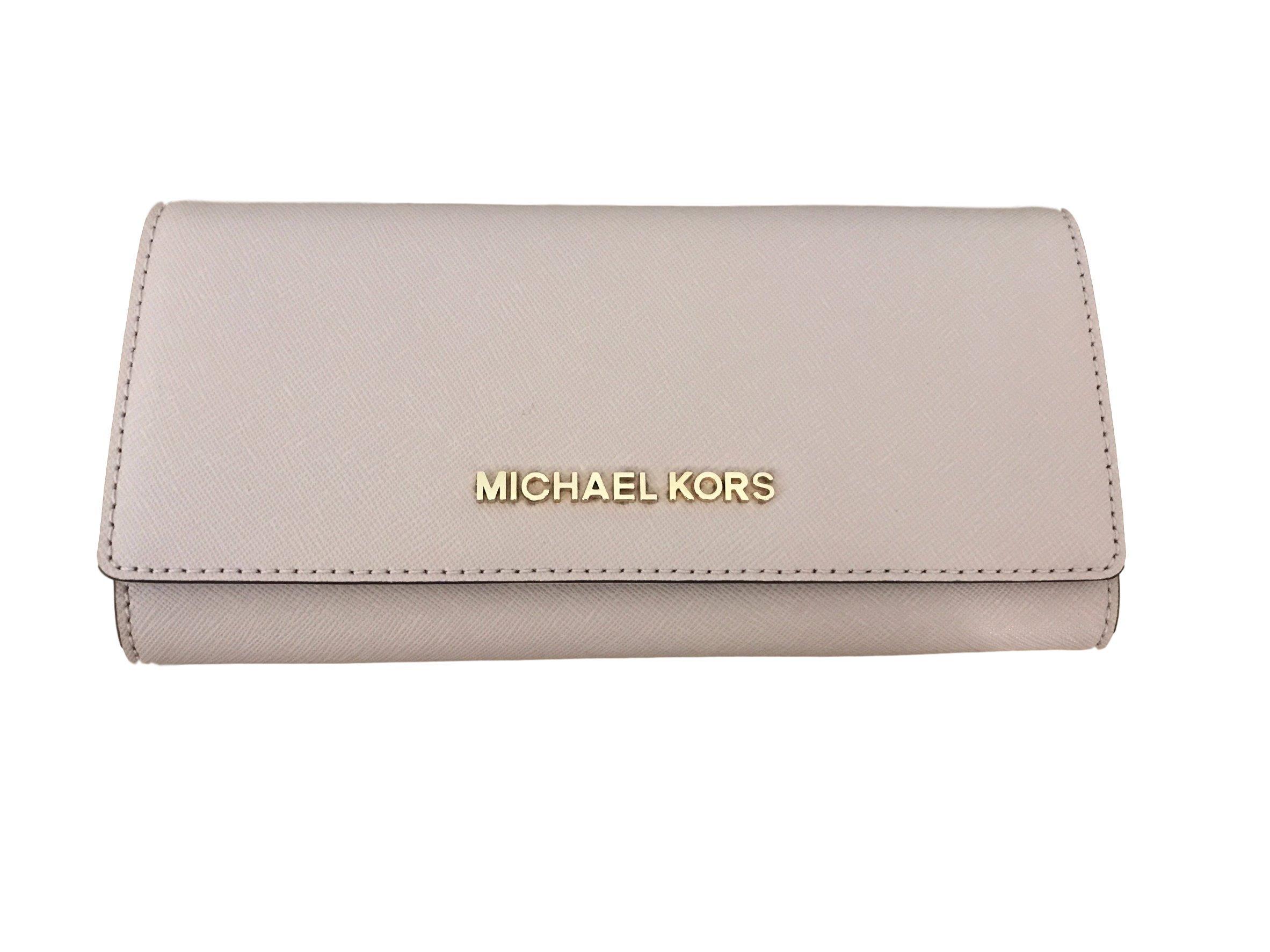Michael Kors Jet Set travel Carryall Leather Clutch wallet in Ballet Pink