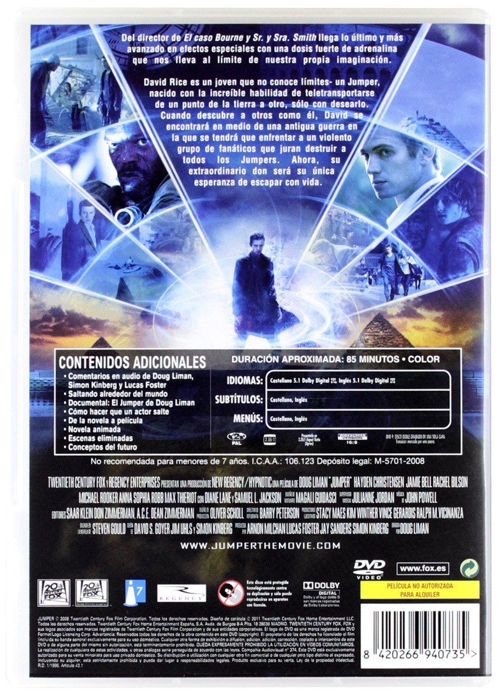 Jumper [DVD]: Amazon.es: Hayden Christensen, Diane Lane, Rachel Bilson, Jamie Bell, Samuel L. Jackson, Doug Liman: Cine y Series TV