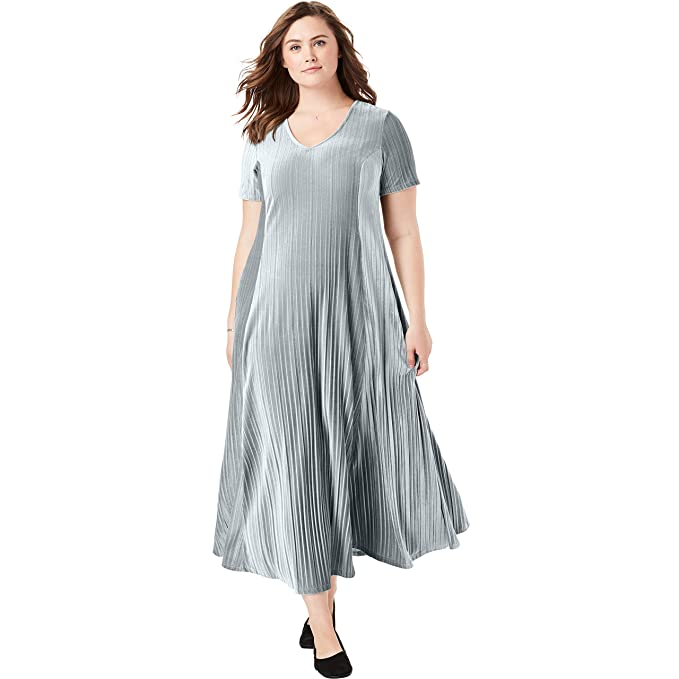 Woman Within Women\'s Plus Size Pleated Crinkle Velour Dress ...