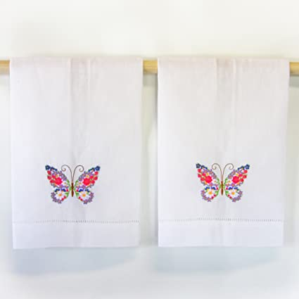 Incroyable Peking Handicraft White Hand Towels With Embroidered Retro 60u0027s Floral  Butterfly (set Of ...