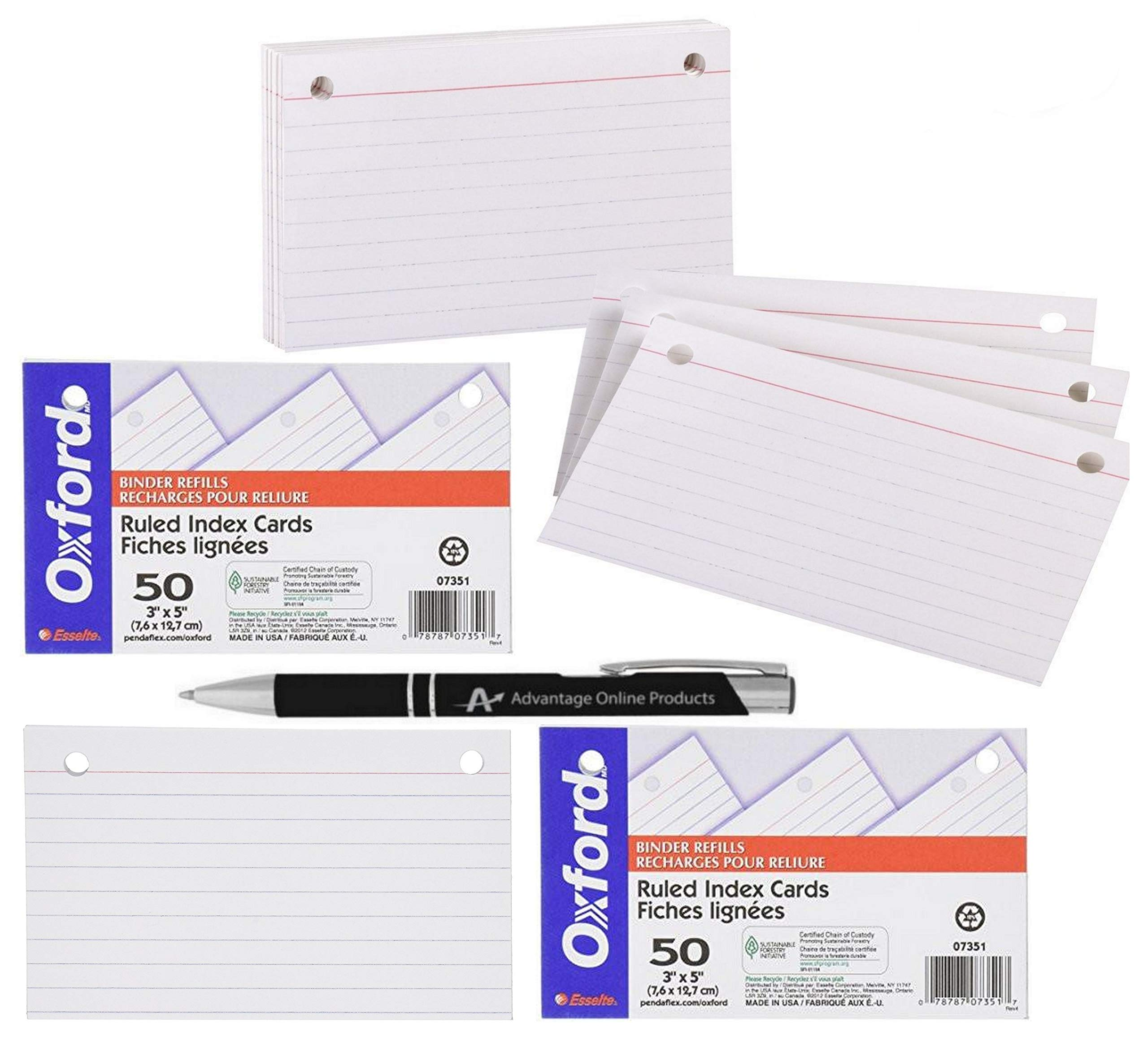 5 Pack Value Bundle Oxford 2 Hole Punched 3'' x 5'' Index Card Binder Refills for 73569 Binder with Bonus AdvantageOP Black and Chrome Retractable Pen by Advantage Online Products, LLC