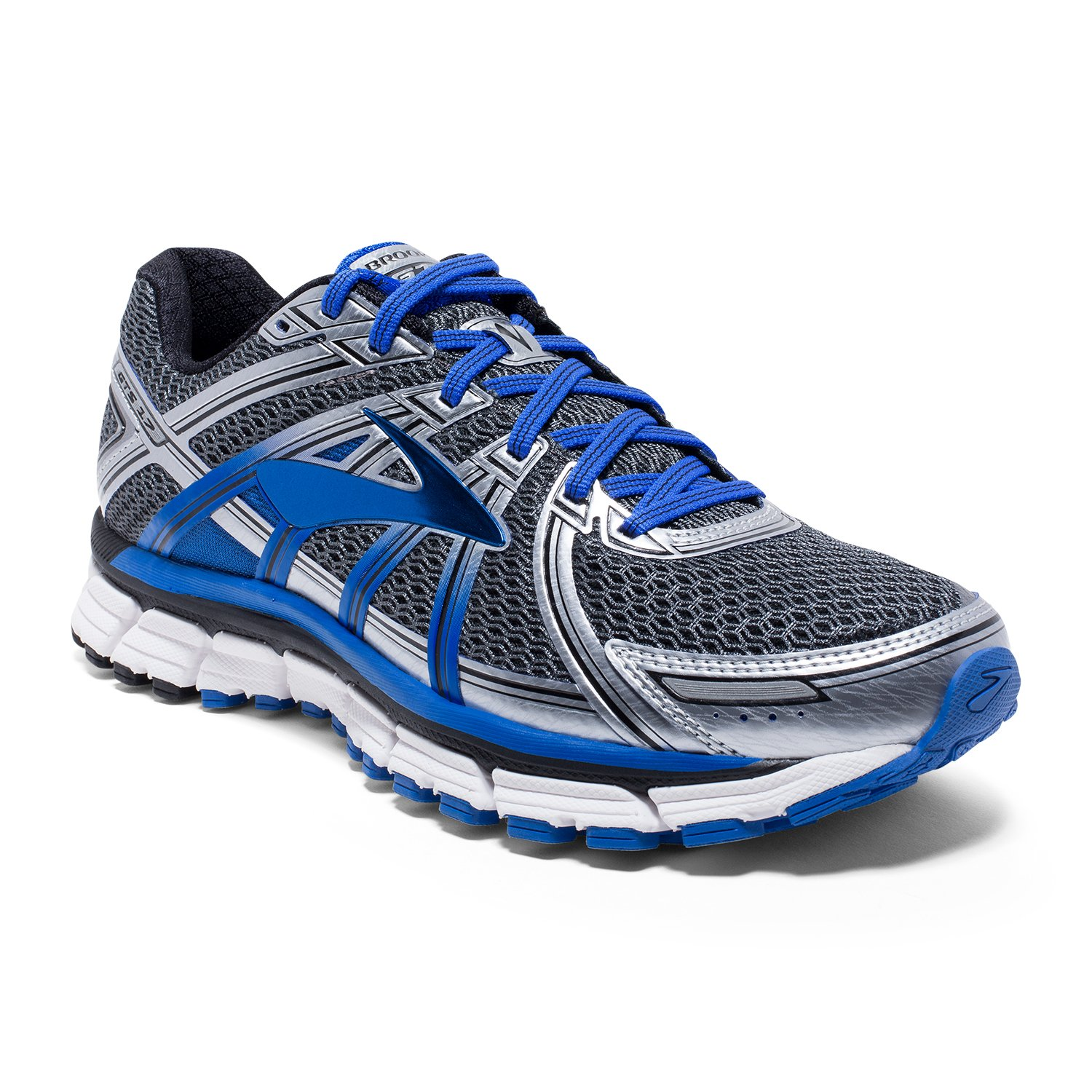 Brooks Men's Adrenaline GTS 17 Anthracite Electric Brooks Blue Silver 7.5 EE US